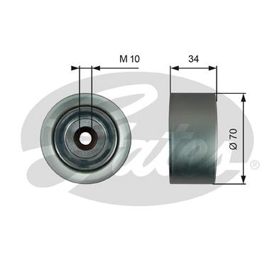 Gates T36186 Guide Pulley For V-Ribbed Belt