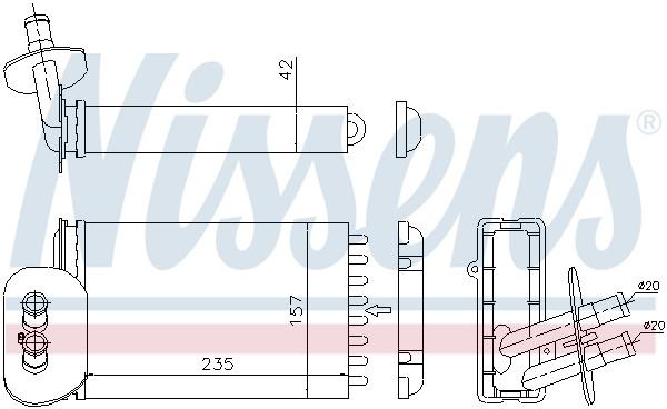interior heating Car Parts Nissens 73977 Heat Exchanger