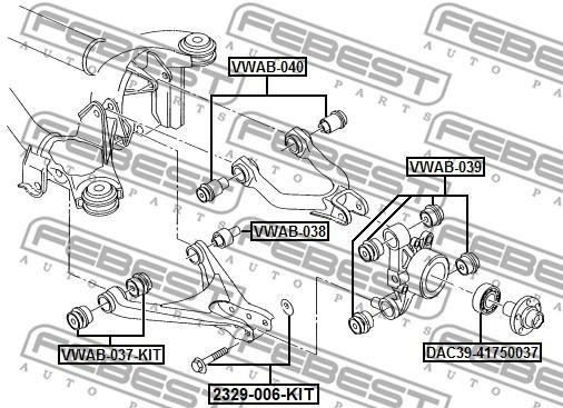 Control Arm-/Trailing Arm Bush FEBEST VWAB-037-KIT